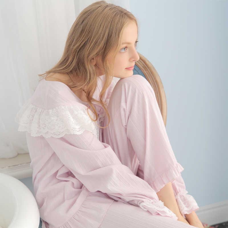 b6c870ca161 ... Cotton Pajamas Women Vintage Sleeping Clothes Ladies Pajama Sets Spring  Autumn Sleepwear Suit Fashion Long sleeved ...