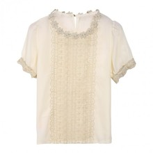 Hot Sale Women Office Lace Shirt Ladies Chiffon Short Sleeve Blouse Tops White b7