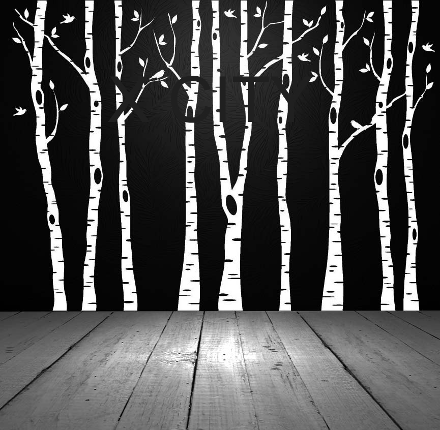 Birch Aspen Trees Birds Forest Wall Art Stickers Removable Vinyl Decals Transfer Stencil Nursery Graphic Mural Home Room Decor