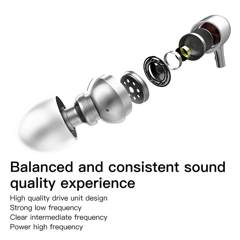 BASEUS Marke 3,5mm Verdrahtete Metall Schallraum design Kopfhörer ...