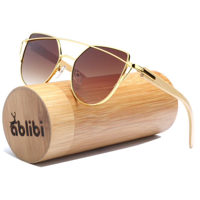 c4bac1a791 Ablibi 2017 Women s Smoky Brown Butterfly Sunglasses Oversize Bamboo Wood  Sun Glasses for Ladies oculos de sol masculino