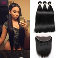 Brazilian lace frontal closure with bundles 3 Pieces hair with Lace Closure Straight Brazilian Virgin Hair with Closure Grade 8A