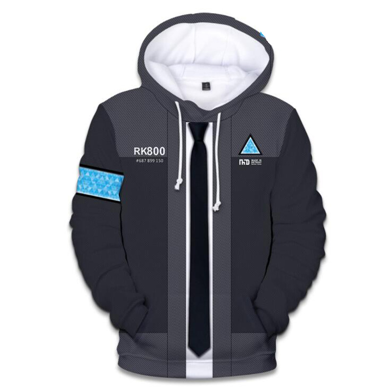 Game Detroit: Become Human Connor RK800 3D Print Oversized Hoodie Long Sleeve Hooded Pullover Loose Casual Warm Sweatshirt Men