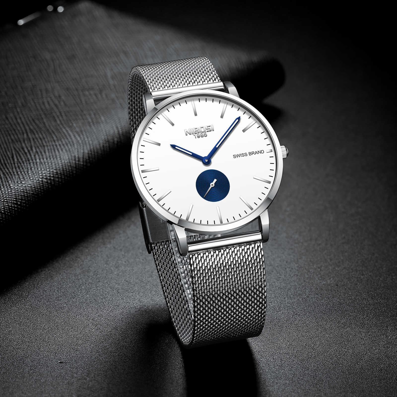 NIBOSI 超薄型ファッション男性腕時計トップブランドの高級ビジネス防水時計メンズ腕時計時計レロジオ Masculino Saat