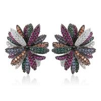 GODKI Trendy Multicolor Daisy Flower Stud Earrings For Women Wedding Cubic Zircon CZ Dubai Indian Bridal Earrings Bohemia Hot