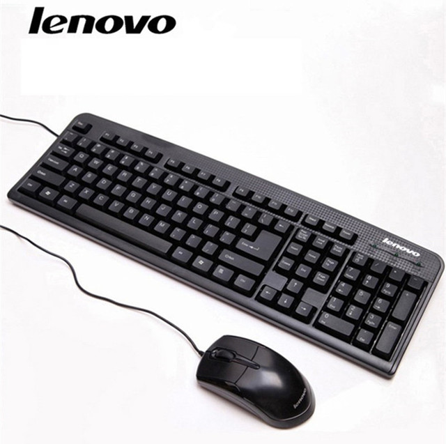 46fdf8e1610 Free shipping Lenovo wired keyboard mouse suit KM4800 waterproof ultra-thin  desktop/notebook USB