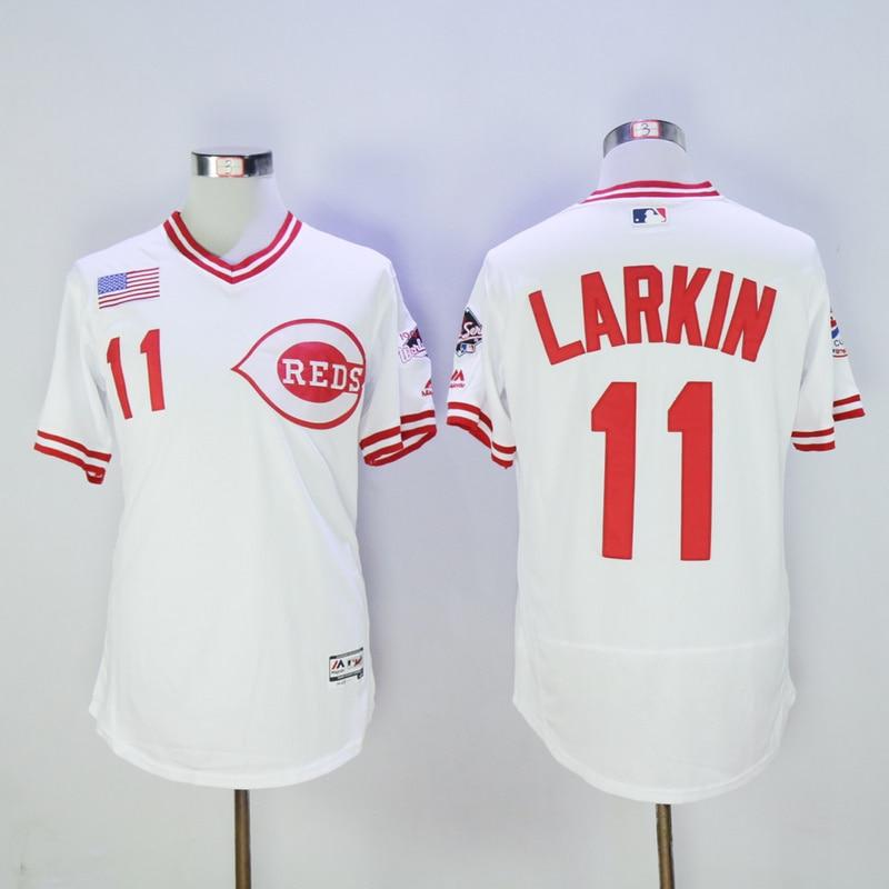 Mens Cincinnati Reds Barry Larkin Flexbase Fully Stitched Baseball Jersey