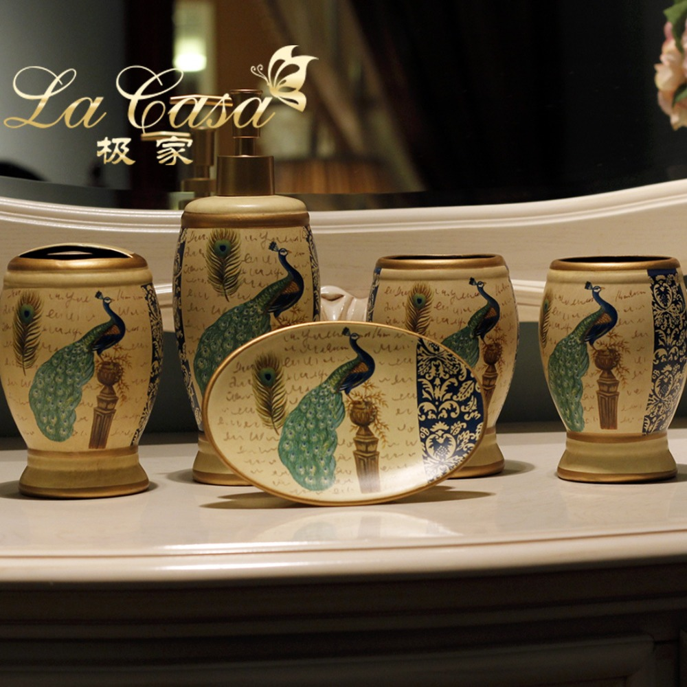 Charming Ceramic Peacock Toothbrush Holder Soap Dish Bathroom Accessories Set Kit  Crafts Decoration Home Decor Vintage Porcelain