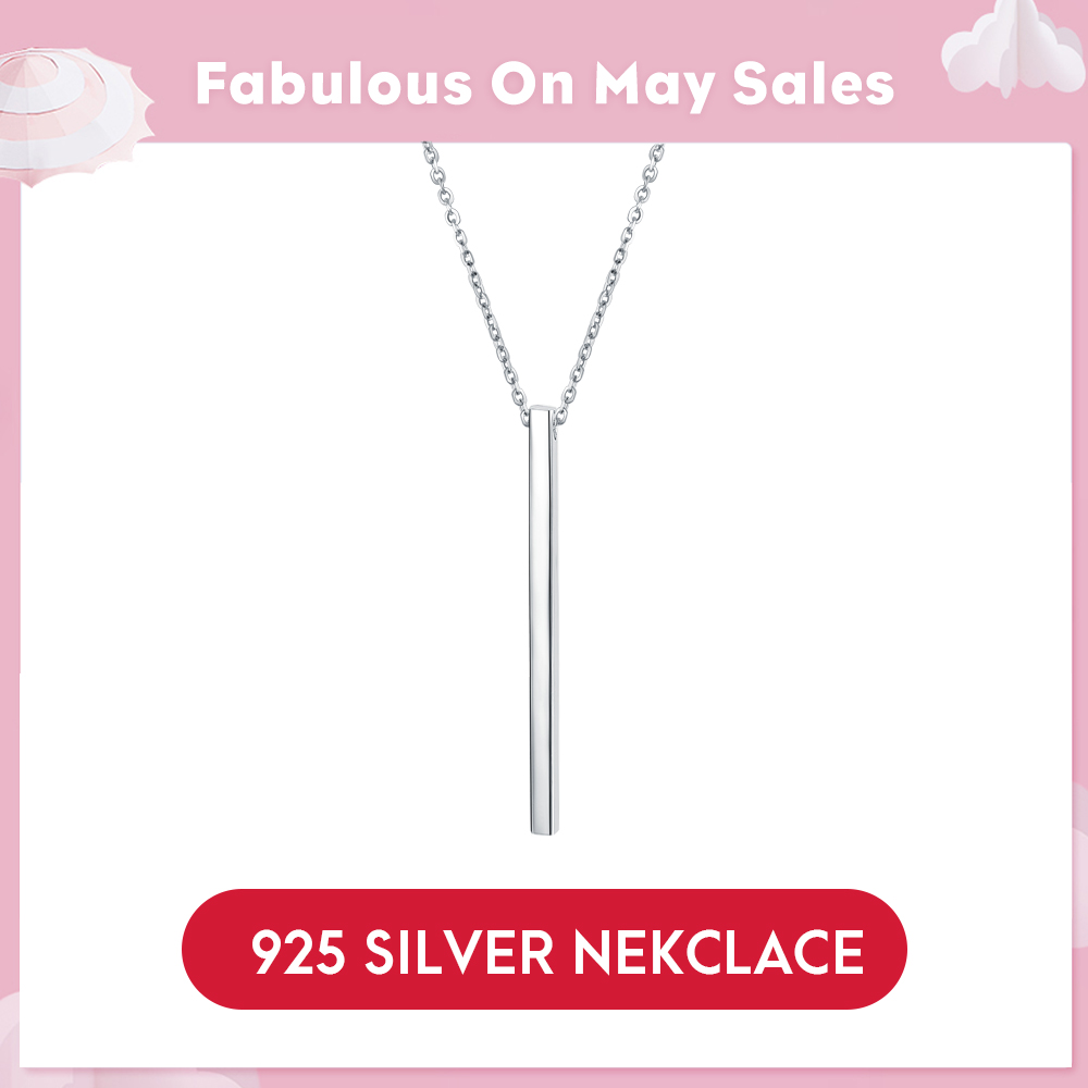 LicLiz Chic 925 Sterling Silver Bar Pendant Chocker Necklaces Punk Style New Year's Gifts Fine Jewelry For Women Collares LN0192