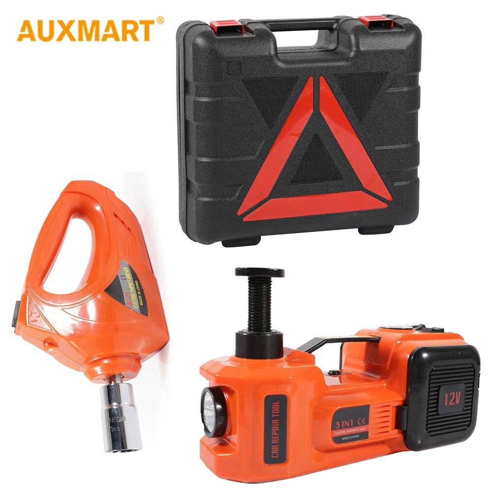 Auxmart 3 fonctions pompe à Air éclairage voiture levage électrique hydraulique Jack clé à chocs 5 T 12 V outils d'entretien Automobile