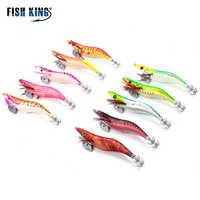 FISH KING Luminous Squid Jigs EGISquid Lure Jig Head For Minnow Crankbait Wobbler Wood Shrimp Fake Lure Octopus Bait Yamashita