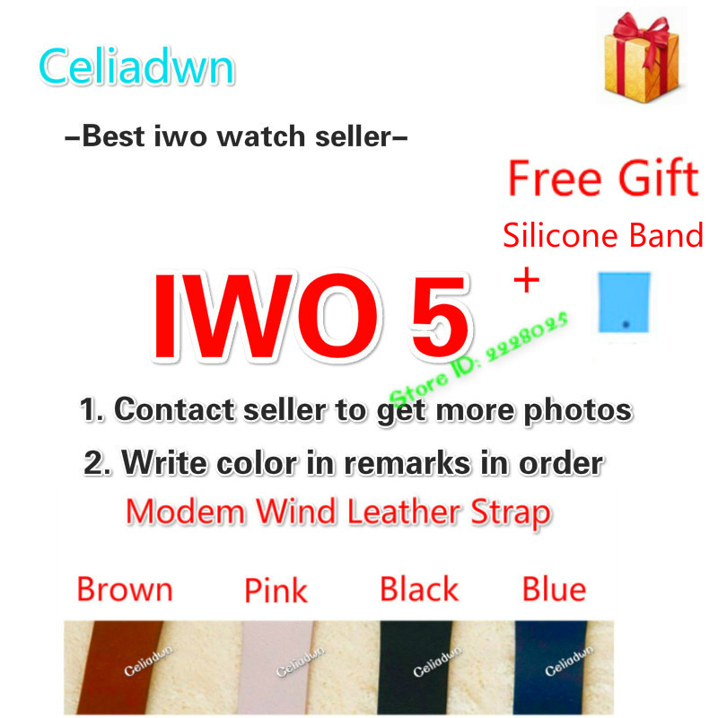 IWO 5 Wireless Charger Bluetooth Smart Watch With Heart Rate ECG 9 Clock Faces Watch Pedometer for Android iOS Phone pk iwo 3 2 celiadwn bluetooth smart watch iwo 4 smartwatch 42mm smaller iwo 1 version case for ios android phone vs iwo 3