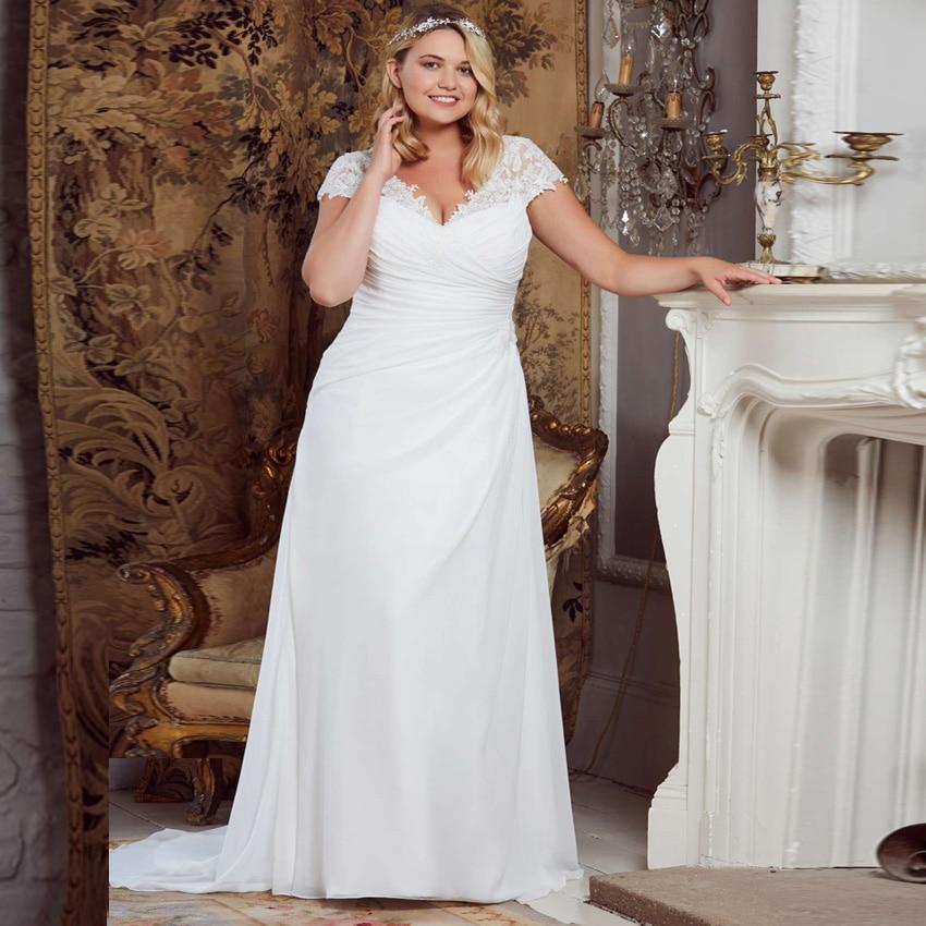 Cheap Chiffon Wedding Dresses Long Cap Sleeve Plus Size Pleats Vestidos De Novia Bridal Gowns Custom Design 2019