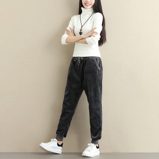 Plus Size Women Winter Velvet Pants Gold Fleeces Thickening Elastic Drawstring Waist Harem Pants Female Warm Trousers 1