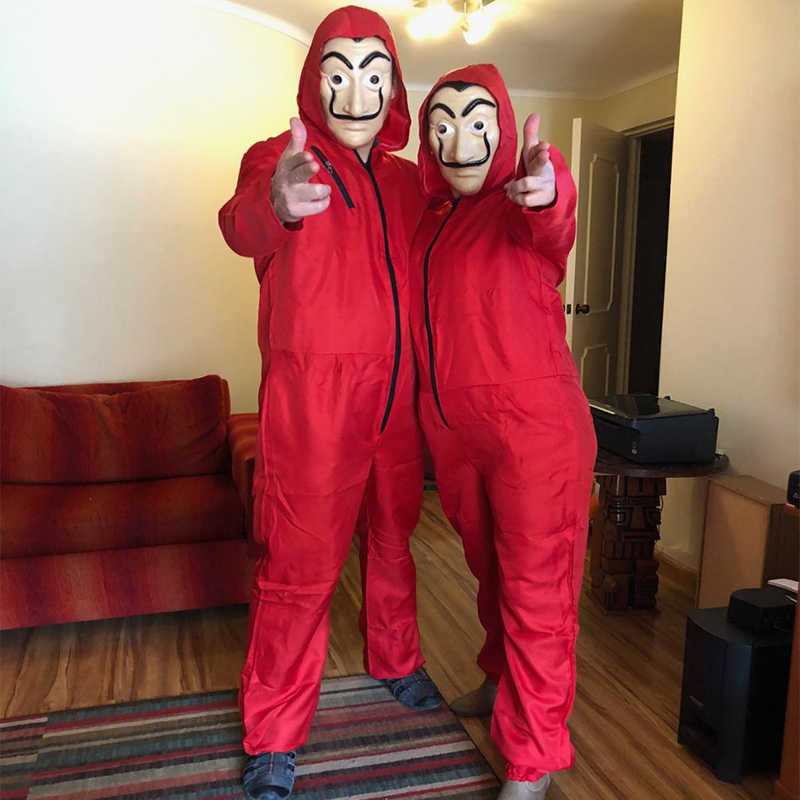 Salvador dali la casa de papel traje & máscara facial cosplay a casa de papel rpg playing festa adulto cosplay dinheiro assalto S-XXL