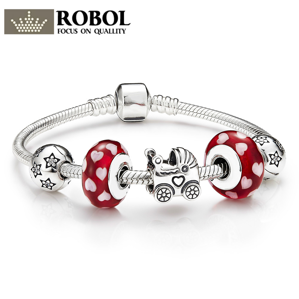 ROBOL New Arrival 100% 925 Sterling Silver Bracelet For Women With Heart Chain Charms Beads Fashion Jewelry Original Free Mail