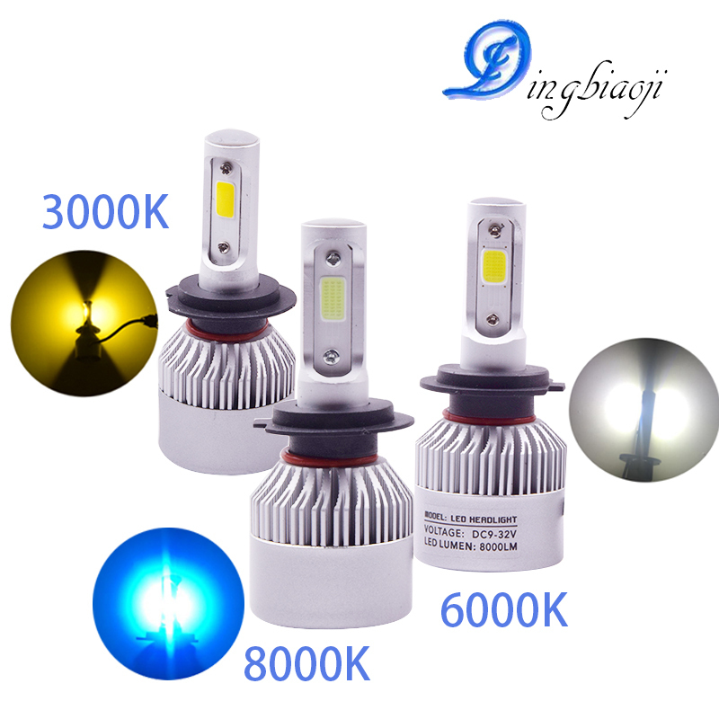 S2 H7 H1 H4 9006 9005 H8 H11 H3 H9 LED 72W 6000K 3000K 8000K Automobiles 8000LM 12V COB Bulbs 2 sides Diodes Replace Parts Lamp kinklight 08219b 01 3000k 6000k