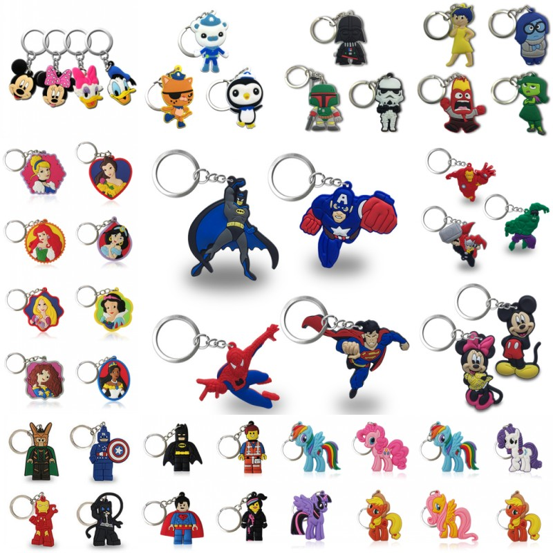 100PCS Keychain PVC Cartoon Key Chain Avenge Mickey Super Mario Figure Key Ring Keychain Key Holder Fashion Charms Trinket