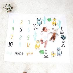Baby Blanket Newborn Swaddle Stroller Bedding Wrap Photo Background Monthly Growth Number Photography Props Outfits Growth Mark