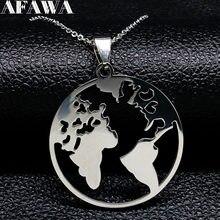Collier en acier inoxydable pour femmes, chaîne couleur argent, carte du monde, à la mode, 2021, N18167