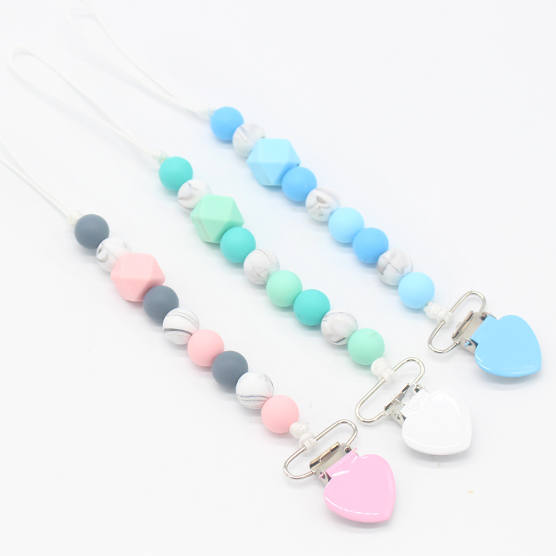 Colorful Metal Love Heart Pacifier Clips Soother Chain Chew Silicone Beads Pacifier Nipple Holder Infant Toddler Attache Sucette
