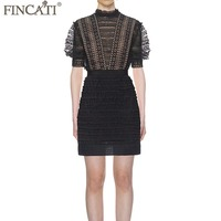 Bodycon Dress Women 2018 Spring Summer High End Runway Lace Patchwork Guipure Lace Sexy Slim Mini