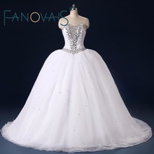 Real Photos Crystal Beaded Wedding Dresses Tulle Bridal Gown robe de mariage vestido de novia Vintage Princess Wedding Gowns