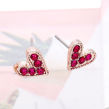 купить Fashion Women Earrings 2019 Sweet Rhinestone Earrings Cute Heart Stud Earrings For Women Accessories Wedding Jewelry Girl Gift по цене 51.48 рублей