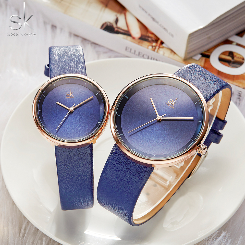 Shengke 2019 Brand Quartz Couple Watch Set Leather Watches For Lovers Men And Women Watches Set Relojes Parejas