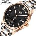 Famosa Marca GUANQIN Hombres Reloj Grande Del Dial Impermeable Reloj de Moda de Lujo Diseñador Del Mens Hombres Reloj de Cuarzo de Oro Reloj de Pulsera