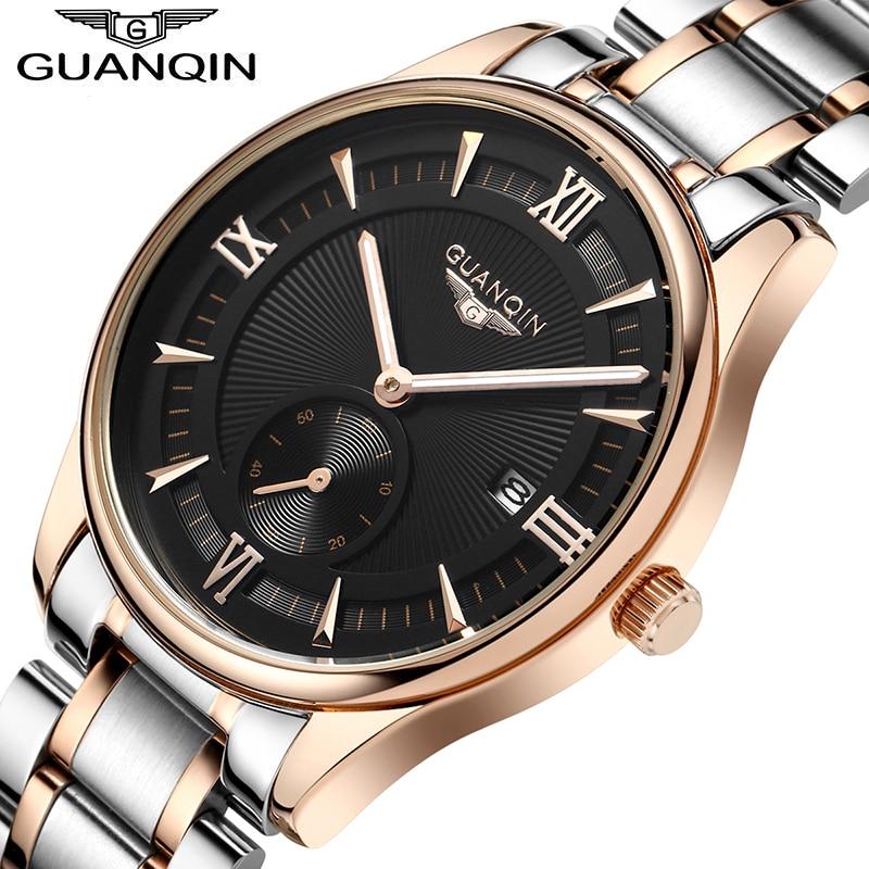 474ad12c5fed Famosa marca guanqin reloj hombres Big dial impermeable reloj de moda de  lujo diseñador del mens reloj de cuarzo oro reloj