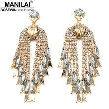 MANILAI Luxury Rhinestones Tassel Earrings Women Weding Jewelry Statement Crystal Drop Earrings Big Bohemia Brincos Pendientes