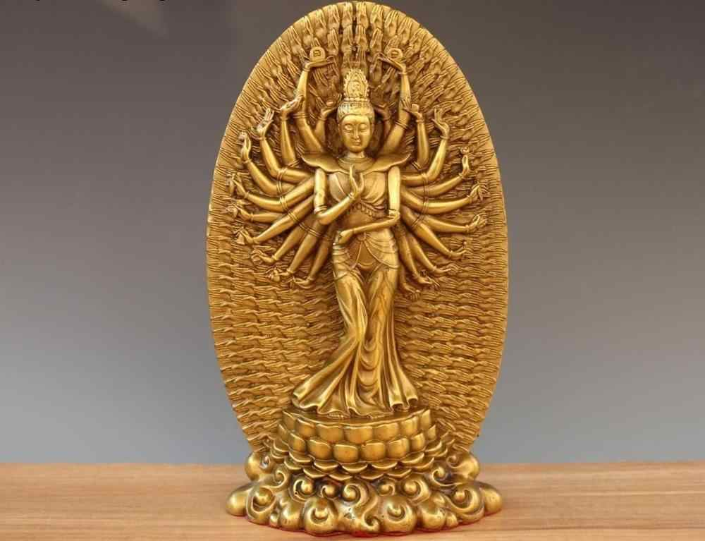 Фото Тибетская латунь 1000 руки гуаньин Кван Инь статуя Будды Бодхисаттва