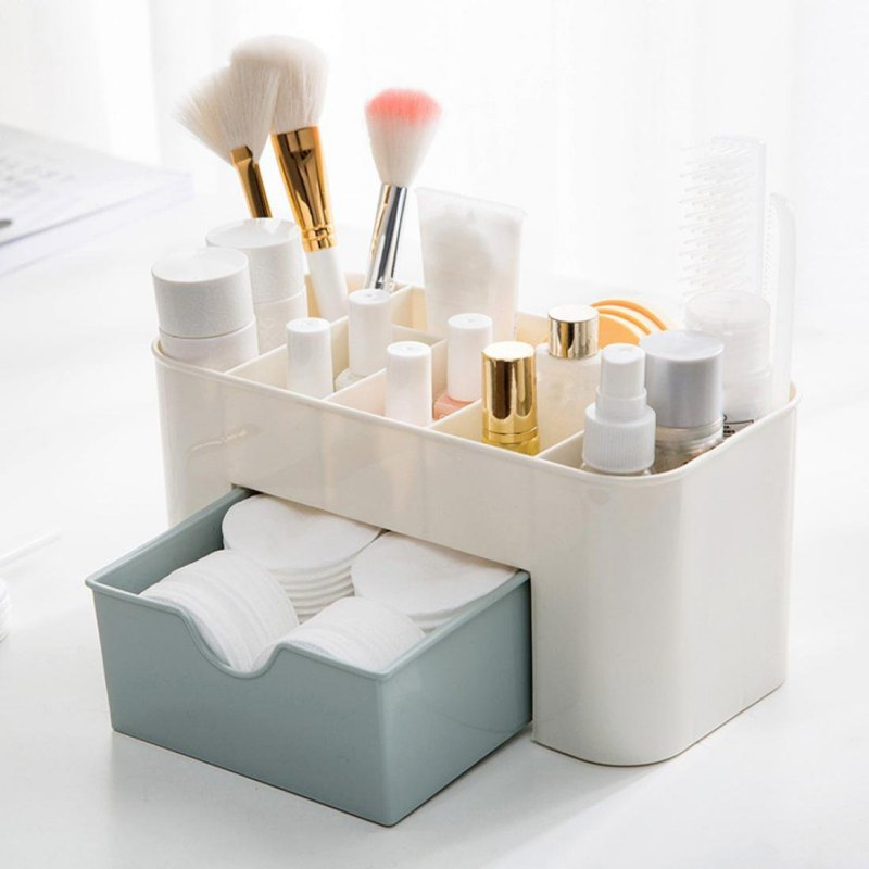 Plastic Brush Box Lipstick Sundries Holder Cosmetic Jewelry Organizer 3 Colors Office Bedroom Storage Drawer Desk Makeup Case
