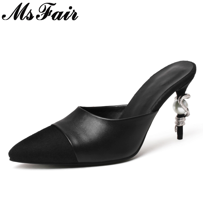 MsFair Pointed Toe Strange Style Women Sandals Fashion Crystal Metal Decoration High Heel Sandal 2018 Summer Patchwork Sandals msfair round toe wedges women sandals fashion crystal high heels casual women sandal shoes 2018 summer open toed buckle sandals