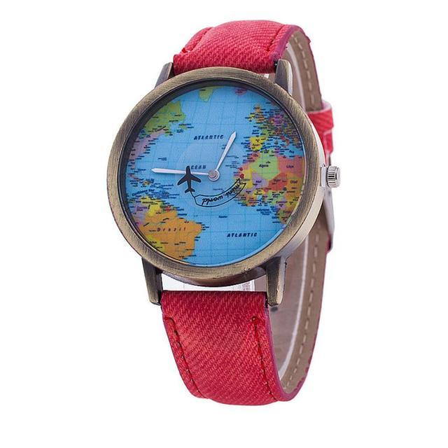 High Quality women fashion casual watch World Map Design dress ladies quartz watch Analog Leather Women Gift Women Watches #D