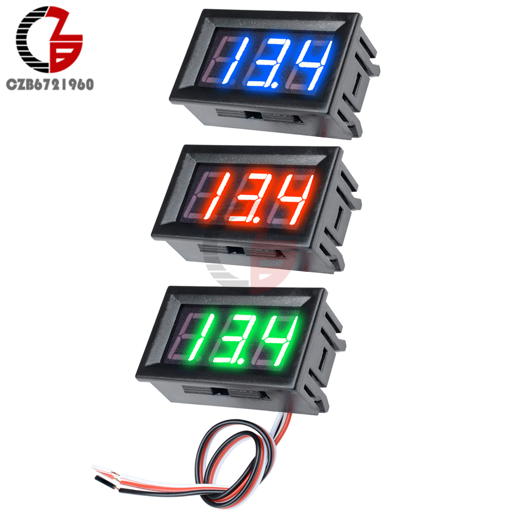 "HTB19MbPXInrK1RjSspkq6yuvXXaD 3 Wire 0.56"" LED Digital Voltmeter Voltage Meter Car Motorcycle Volt Tester Detector DC 12V Capacity Monitor Red Green Blue"