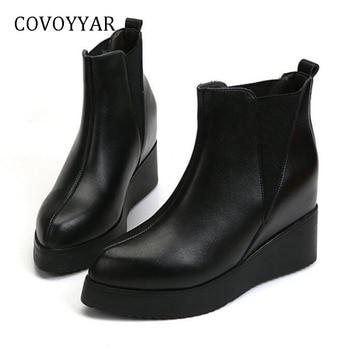 f7e46af5ca8 COVOYYAR 2019 invierno cuñas tobillo botas de plataforma de moda de Punta  mujeres botas de tacón ocultos negro zapatos de mujer zapatos de WBS1009