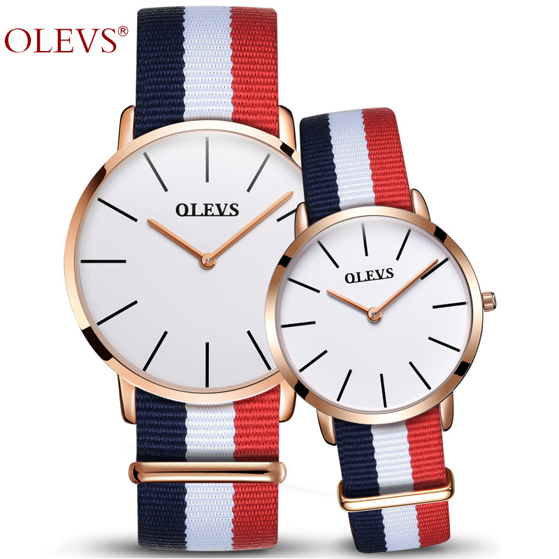 OLEVS Luxury Fashion Famous Couples Watches Business Style Lovers Men Women Waterproof Nylon belt Quartz Charms Wristwatches keep in touch couples watch for lovers business luxury men and women wristwatches quartz waterpoof calerdar wedding gifts