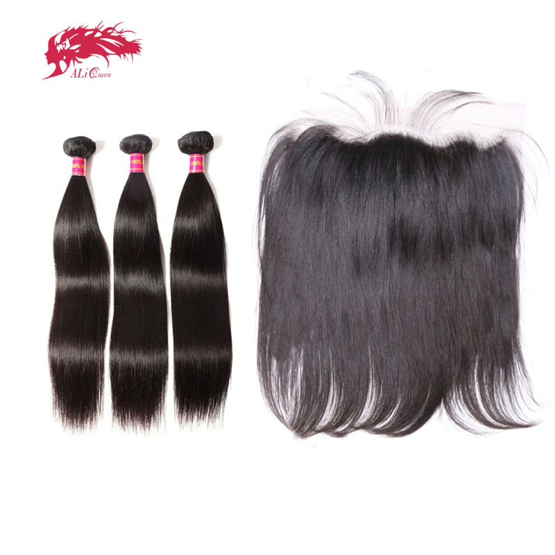 Ali Queen Hair Ear To Ear Lace Frontal Closure With 3 Bundles Brazilian Straight Human hair Weaves With Closures Virgin Hair