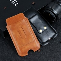 Universal Cell Phone Belt Sleeve Cover Case Genuine Leather Waist Bag Card Holster For Samsung Galaxy