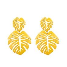 Vintage Tree Leaf Earrings For Women Alloy Hollow Bohemia Earring Big Long Pendant Earings Fashion Jewelry