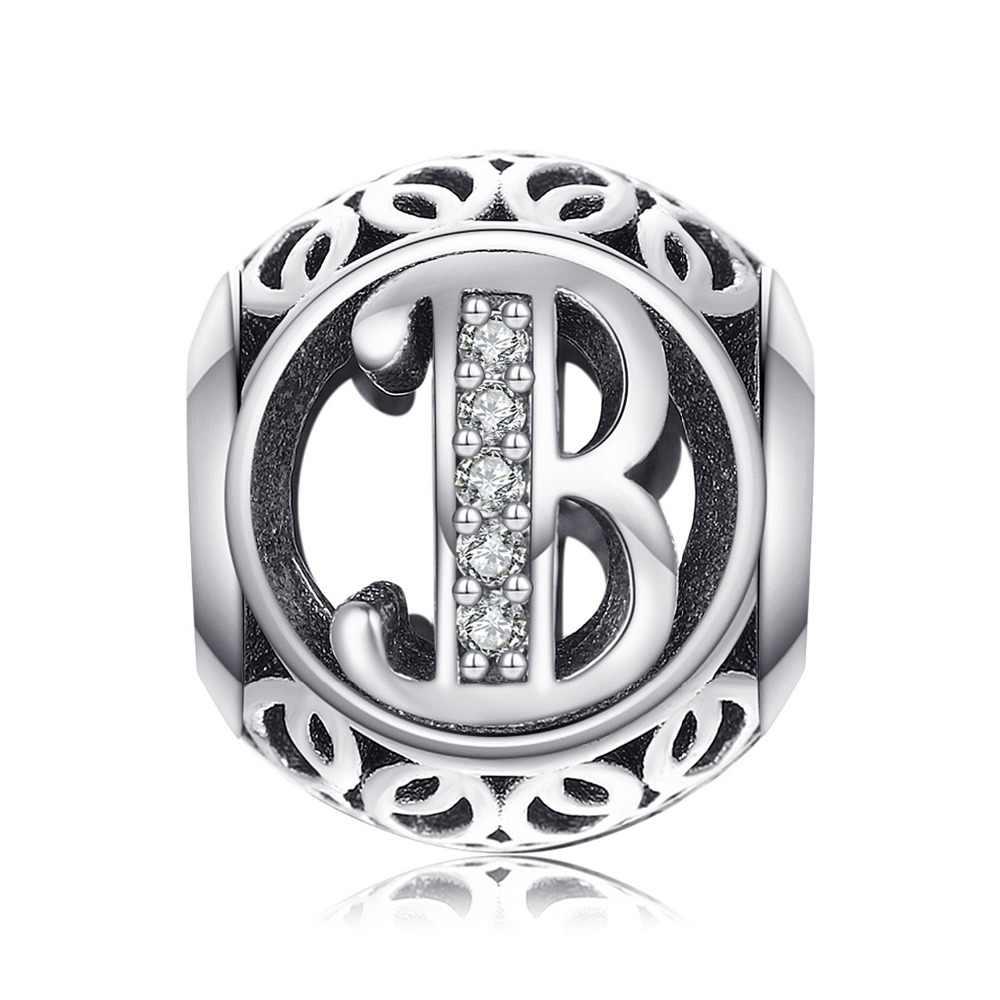 JewelryPalace เริ่มต้น 925 สเตอร์ลิงเงินตัวอักษรตัวอักษรลูกปัดเงิน 925 Original Fit สร้อยข้อมือเดิม 925