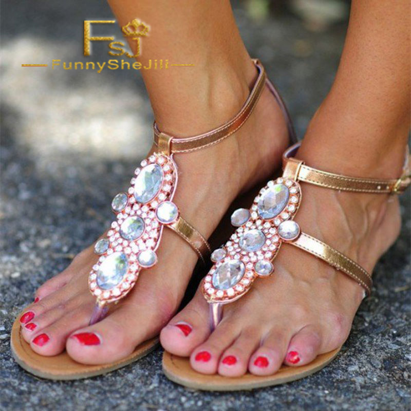 Cómodo La T Fsj Oro Generoso Incomparable Correa Pisos Manera Fsj01 Sandalias Atractivo Rhinestone Noble Elegante Jeweled De T1twU