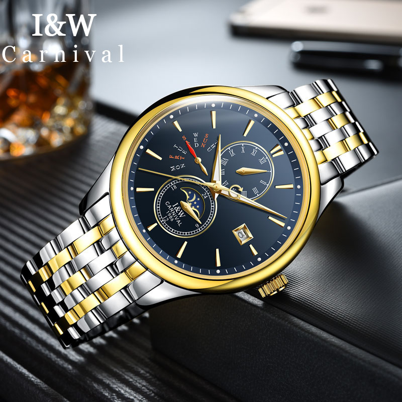 I&W Bussiness Gold Watch Men Carnival Automatic Mechanical Watches Top Brand Luxury Moon Phase Wristwatch Mens Clock erkek saat 2017 men watches luxury top brand sekaro sport mechanical watch gold clock men tourbillon automatic wristwatch with moon phase