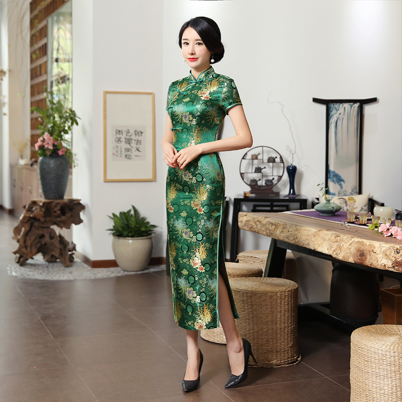 2019 New High Fashion Green Rayon Cheongsam Chinese Classic Women's Qipao Elegant Short Sleeve Novelty Long Dress S-3XL C0136-D
