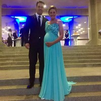 Lace Applique Crystal Beaded Chiffon Bridesmaid Dress Long Turquoise Wedding Party Pregnant Woman Dresses Wedding Guest Dresses