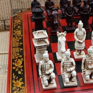 Image 5 - قطعة شطرنج جديدة مصنوعة من خشب التيراكوتا الصيني الكلاسيكي شطرنج قطعة شطرنج كبيرة الحجم مصنوعة من الراتنج