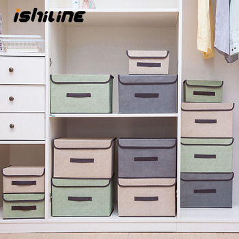 Cotton Linen Storage Box With Cap 2 Size Clothes Socks Toy Snacks Sundries Organizer Set Fabric Boxes Cosmetics Household