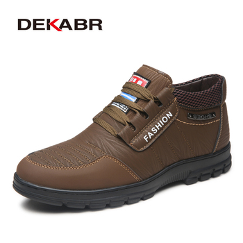 DEKABR Autumn Winter Men High Top Casual Shoes Warm Pu Leather Men Flats Fashion Footwear Snow Boots Non-slip Winter Shoes